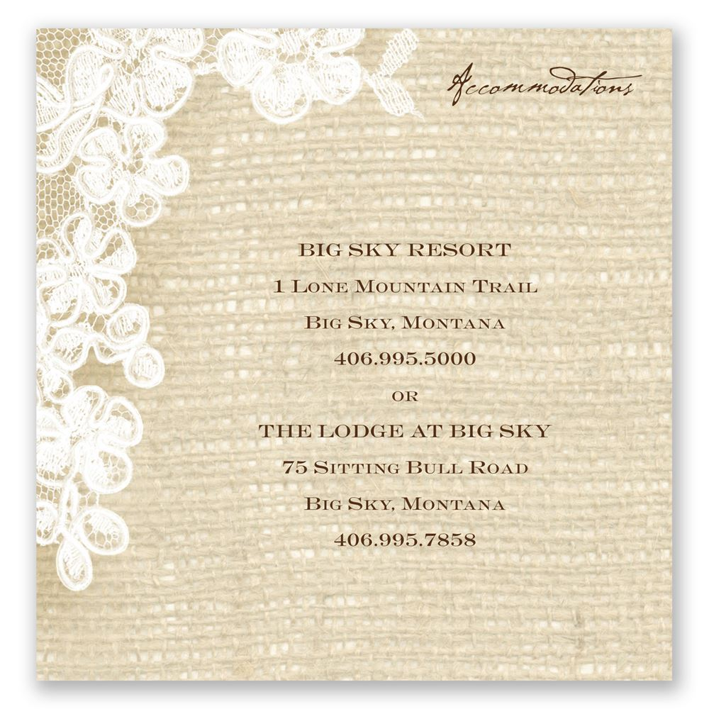 Burlap And Lace Accommodations Card