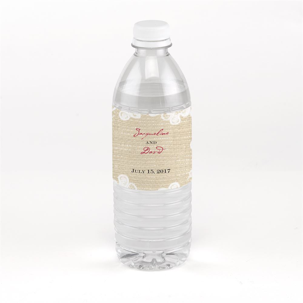 burlap and lace water bottle label invitations by dawn