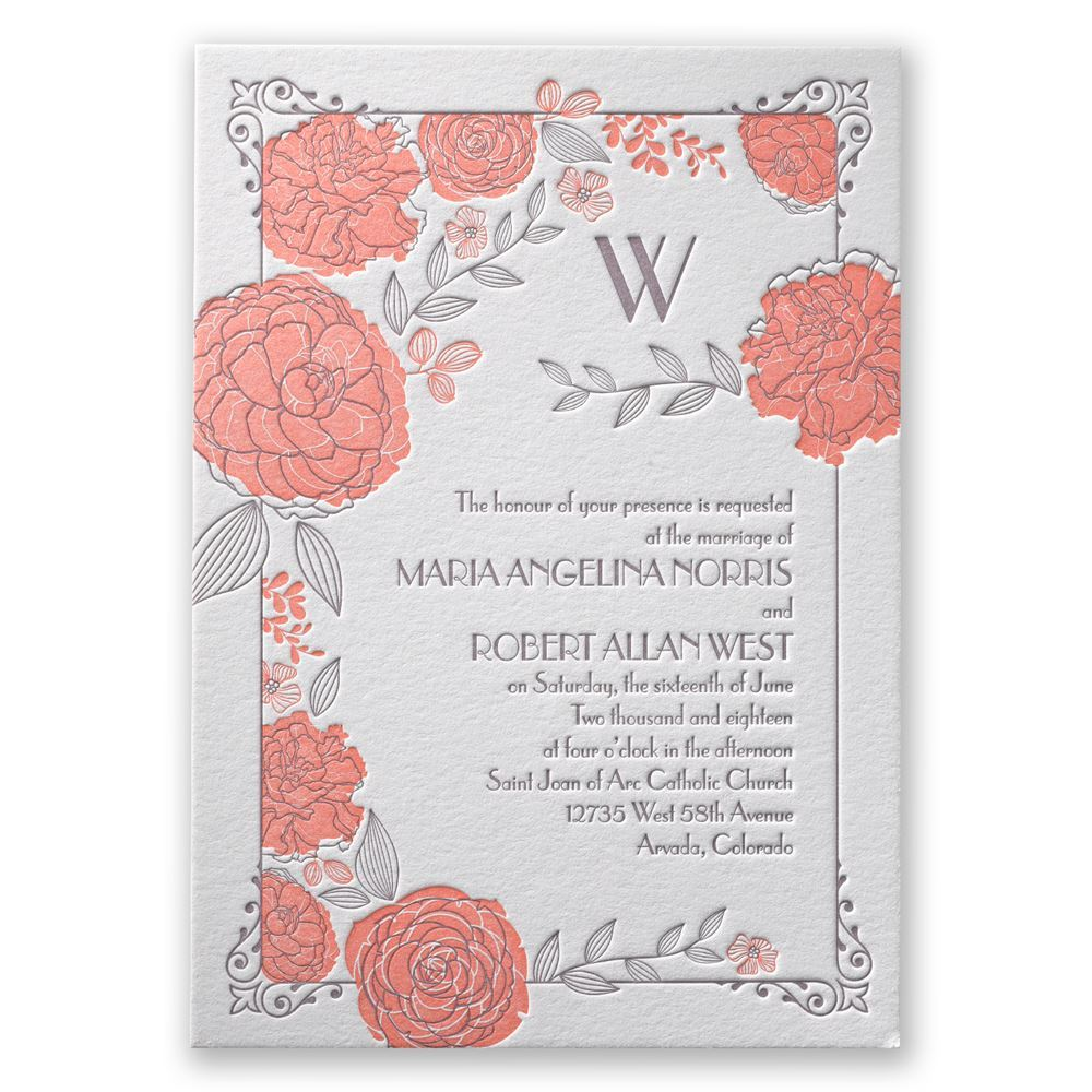 Rose garden letterpress invitation invitations by dawn rose garden letterpress invitation stopboris Images