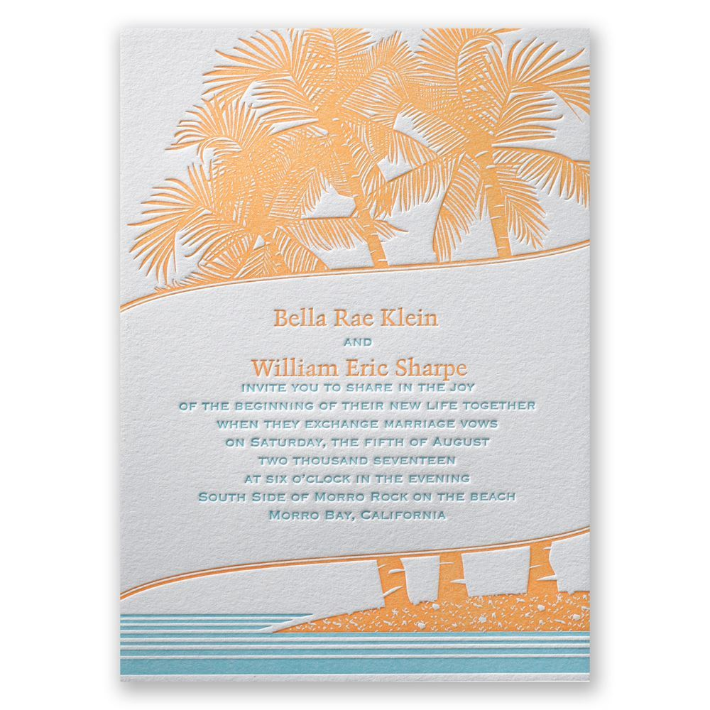 Tropical Escape Letterpress Invitation