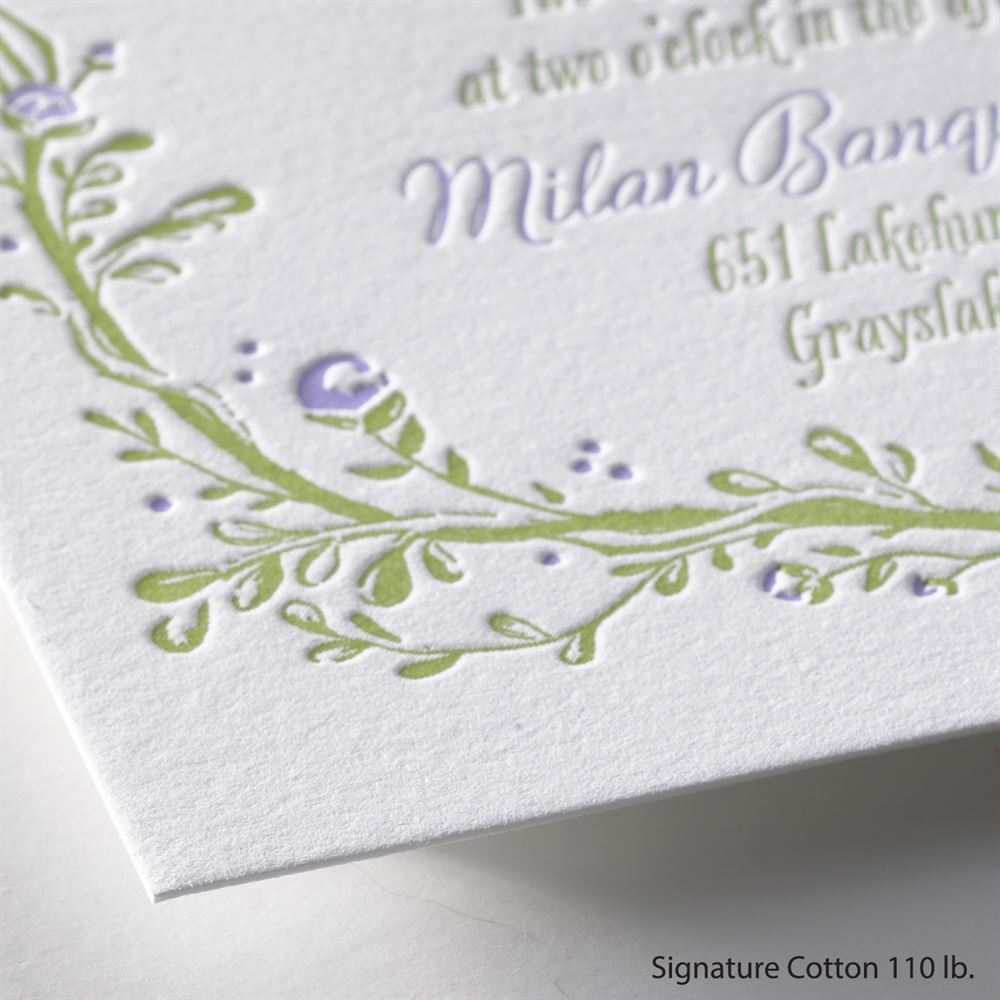 Flowers and vines letterpress invitation invitations by dawn flowers and vines letterpress invitation stopboris Image collections