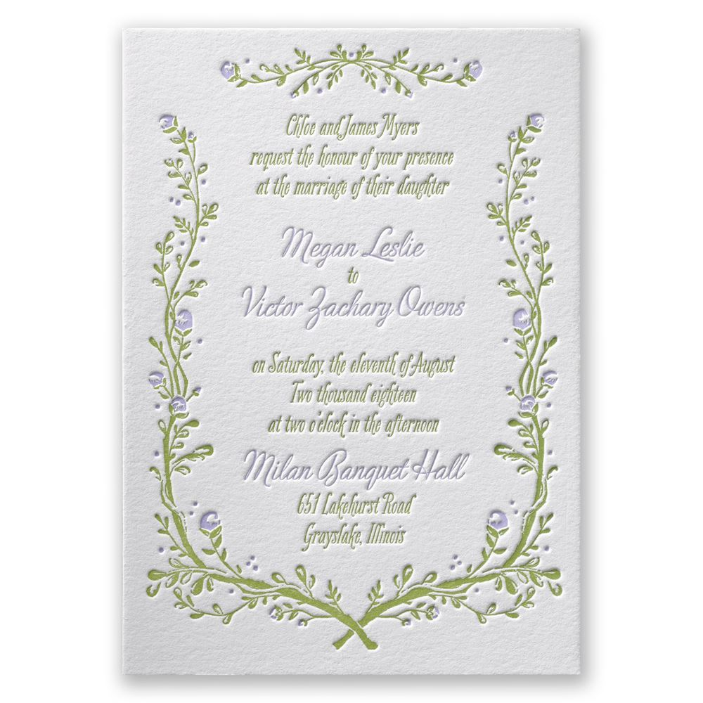 Flowers and Vines Letterpress Invitation | Invitations By Dawn