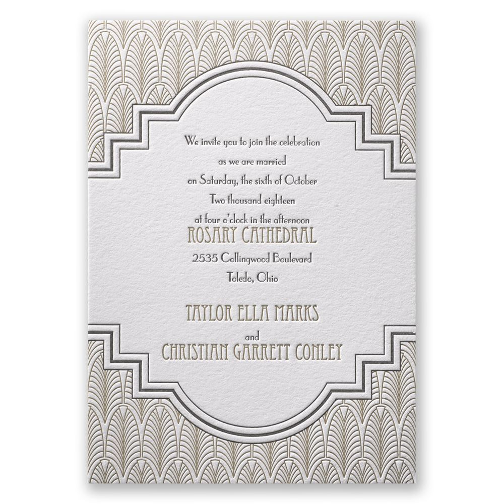 Art Deco Wedding Invitations.Art Deco Frame Letterpress Invitation