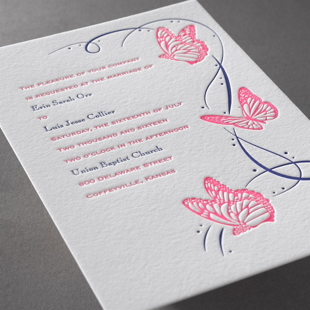 Butterfly Breeze Letterpress Invitation | Invitations By Dawn