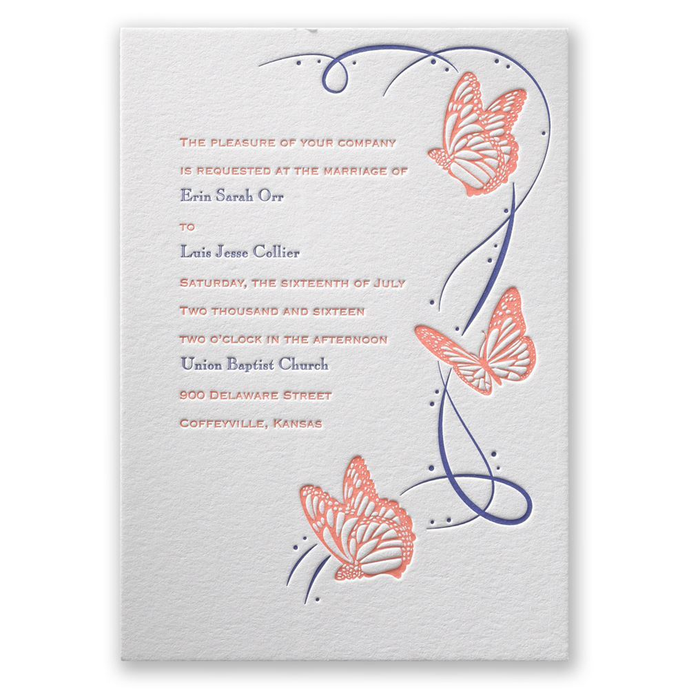 Butterfly Breeze Letterpress Invitation – Butterfly Wedding Invite
