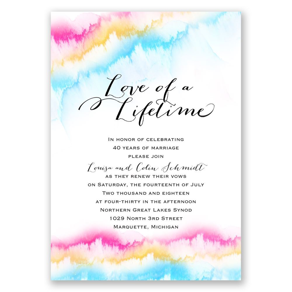 Watercolor Rainbow Vow Renewal Invitation Invitations By Dawn