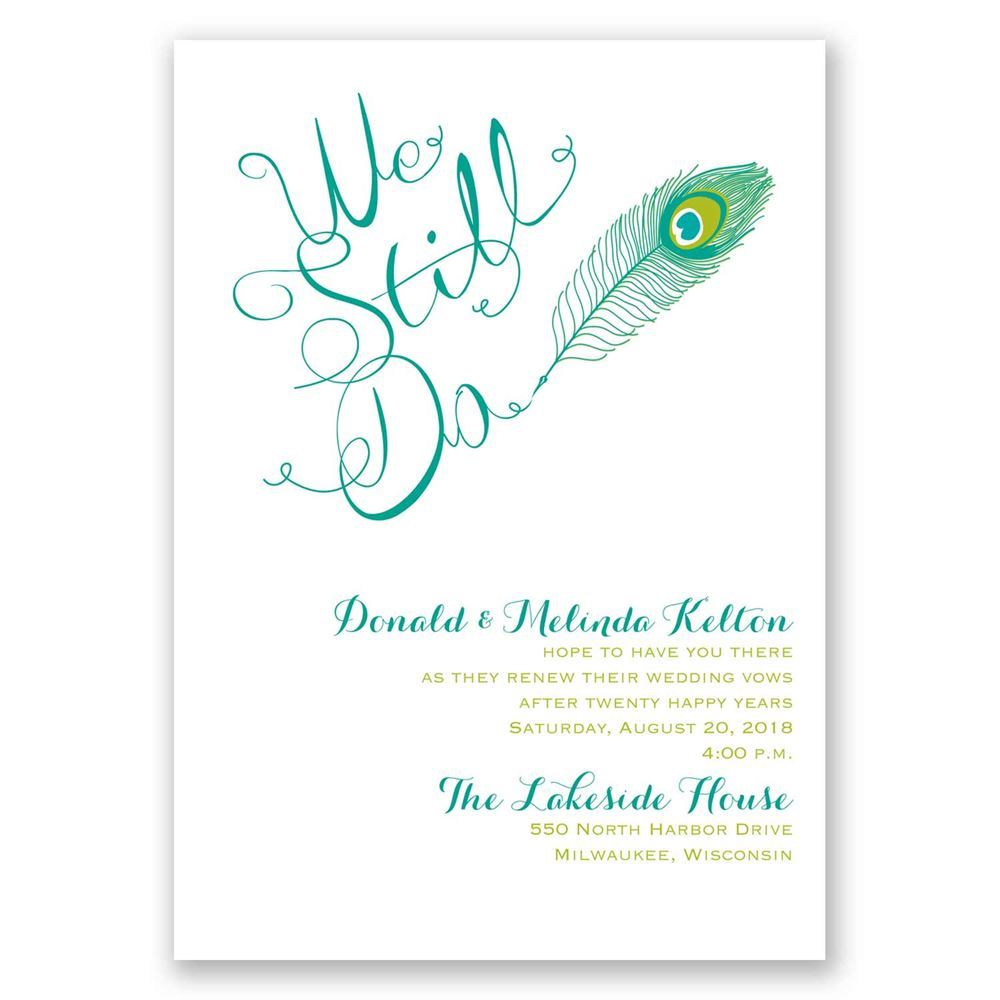 Peacock Calligraphy Vow Renewal Invitation Invitations By Dawn