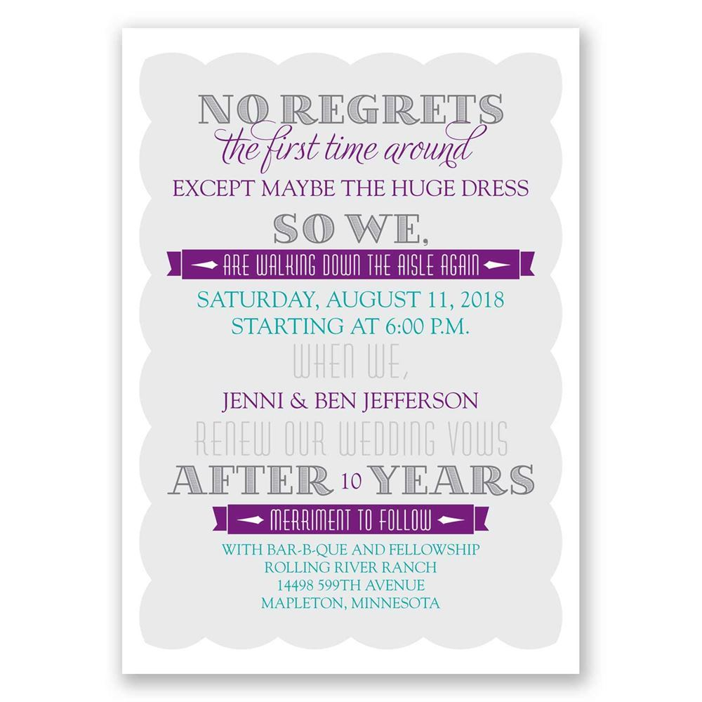 No Regrets Vow Renewal Invitation | Invitations By Dawn