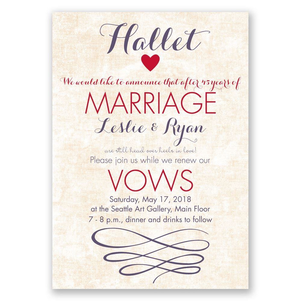 Wedding Vow Renewal Invitations: Happy Heart Vow Renewal Invitation