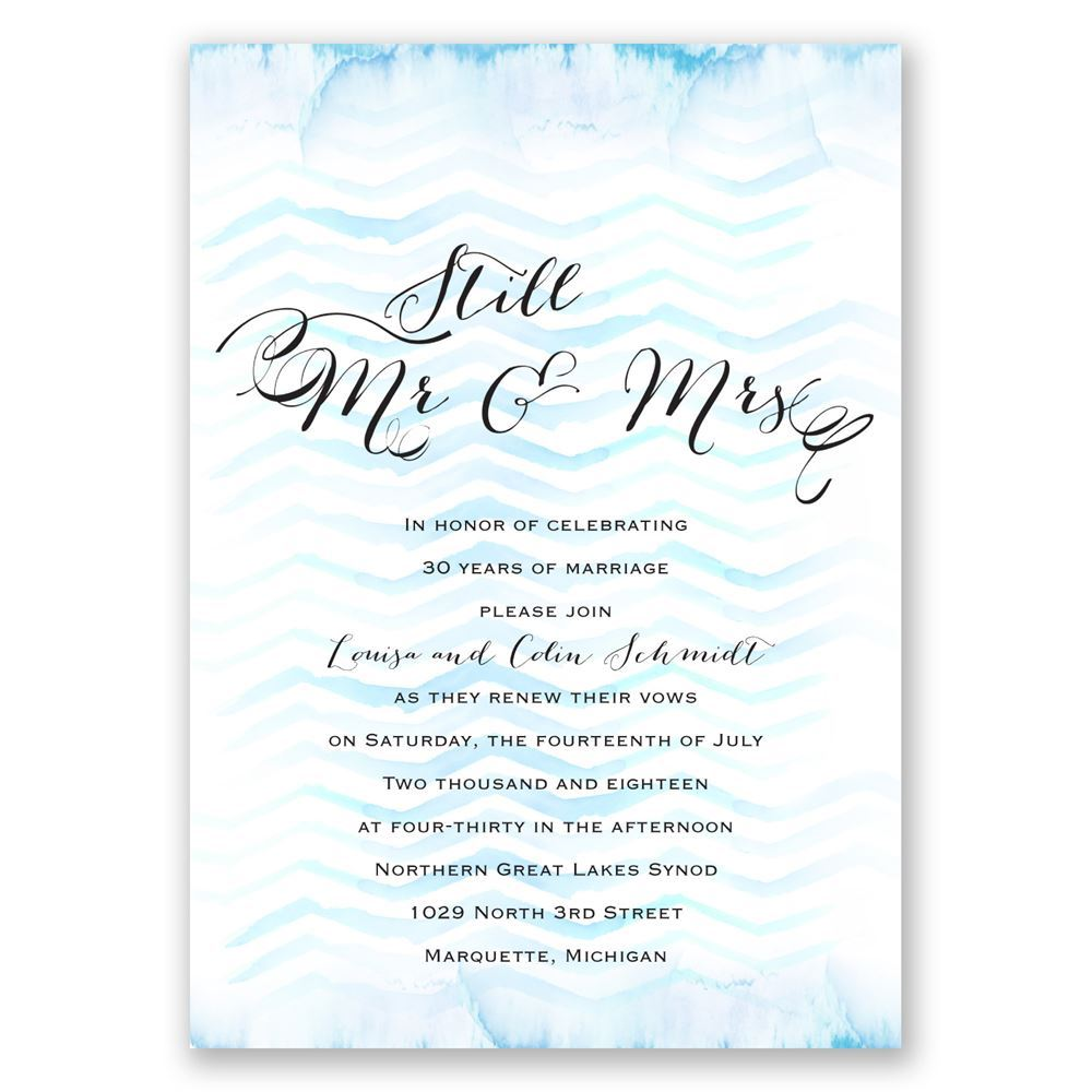 Watercolor Chevron Vow Renewal Invitation Invitations By Dawn