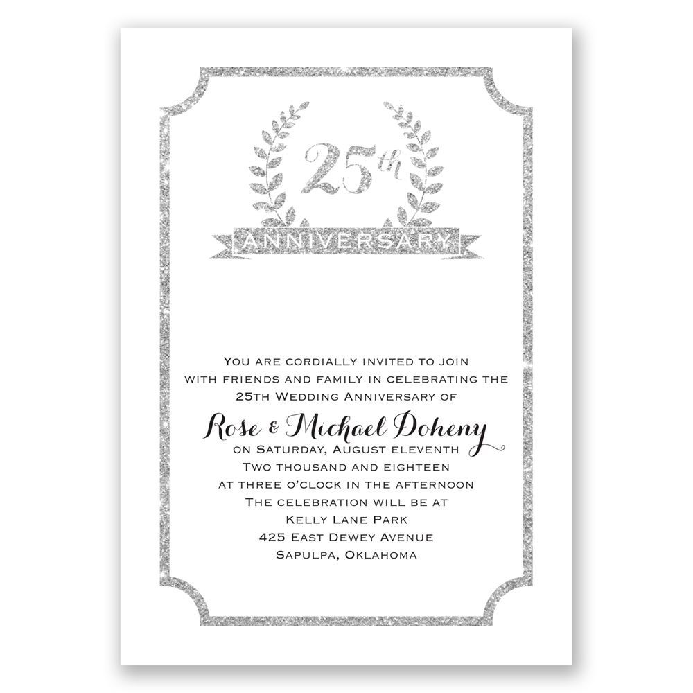 25th Crest Faux Glitter Anniversary Invitation | Invitations By Dawn