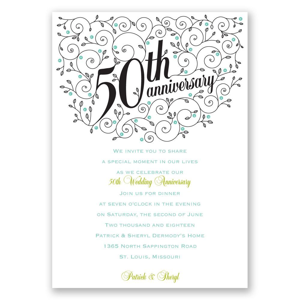 Forever Filigree 50th Anniversary Invitation Invitations