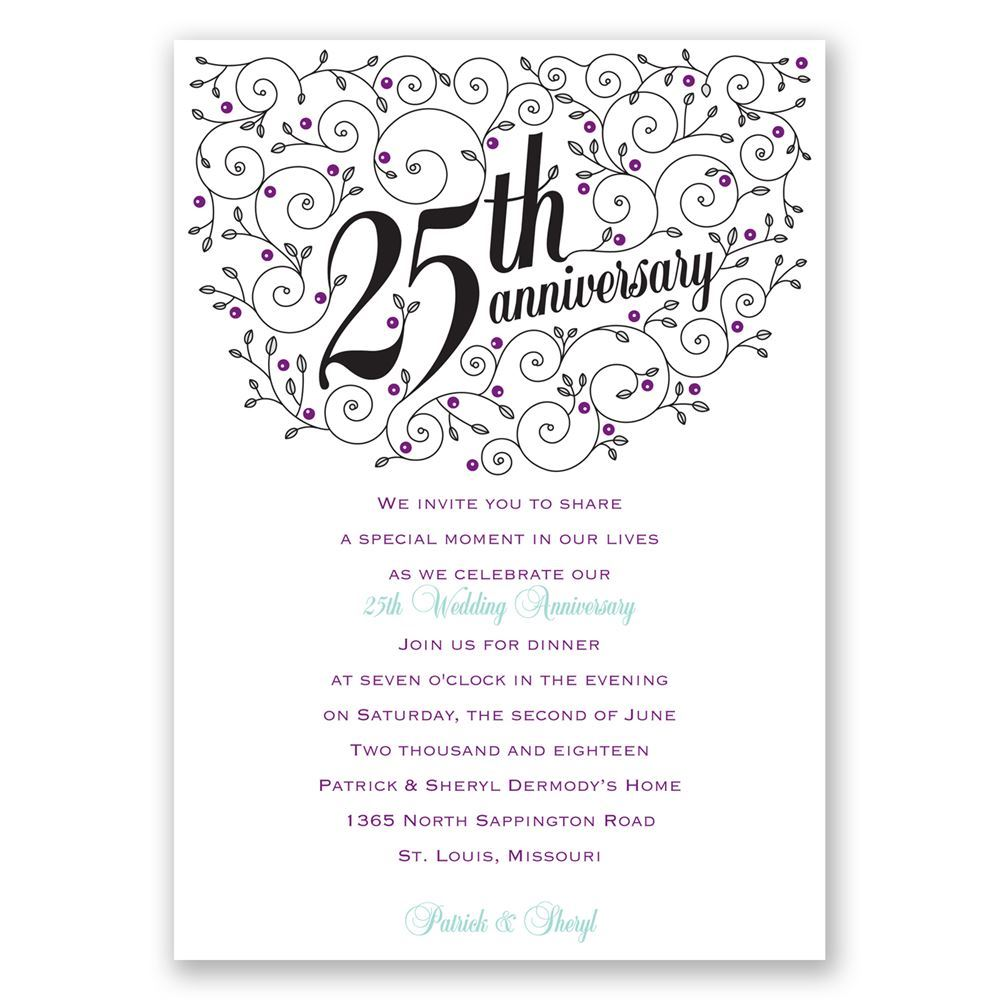 Forever filigree 25th anniversary invitation invitations by dawn forever filigree 25th anniversary invitation stopboris Images