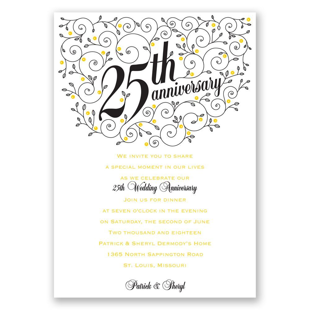Forever filigree 25th anniversary invitation invitations by dawn - Wedding anniversary invitations ...