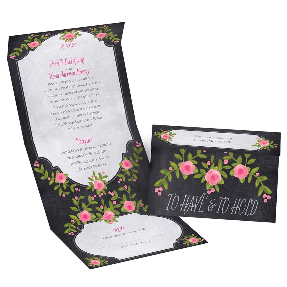 Painted Roses Seal And Send Invitation