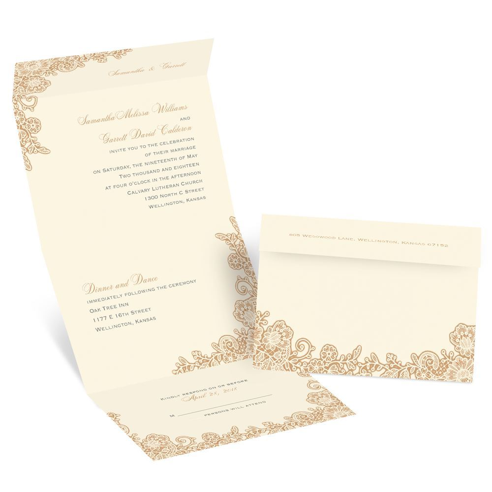 Seal And Send Wedding Invitations.Lacy Corners Seal And Send Invitation