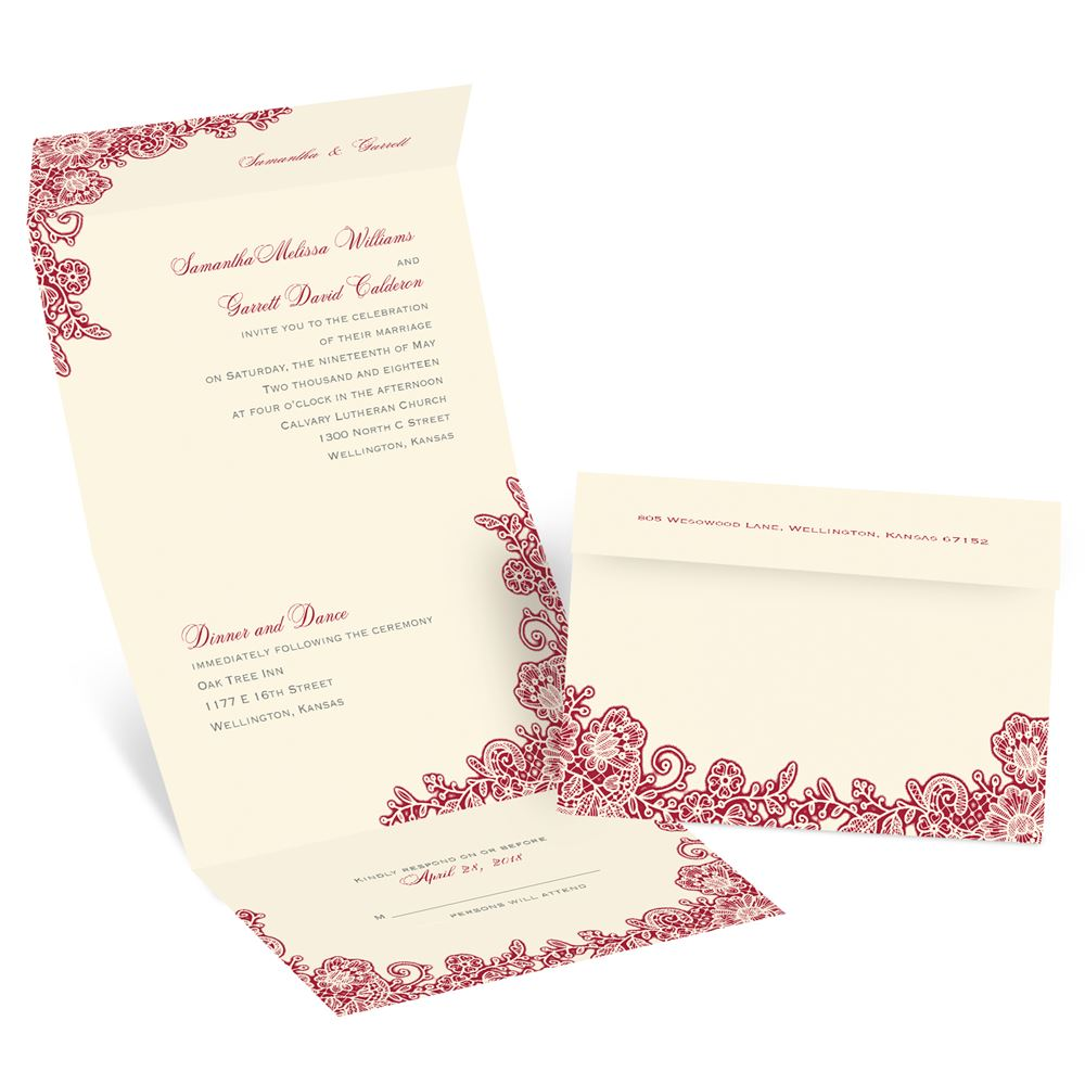 Cheap Send And Seal Wedding Invitations: Lacy Corners Seal And Send Invitation