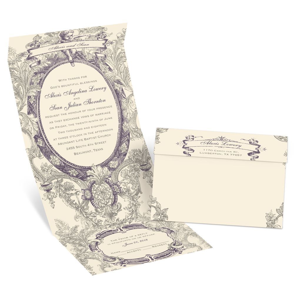 Vintage Cherub Seal and Send Invitation | Invitations by Dawn