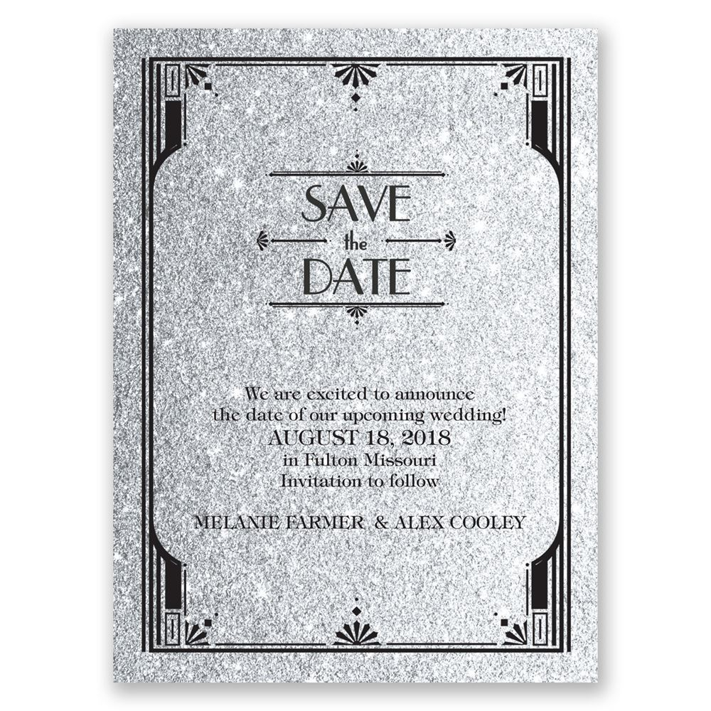 Glamorous Faux Glitter Save The Date Card Invitations By Dawn