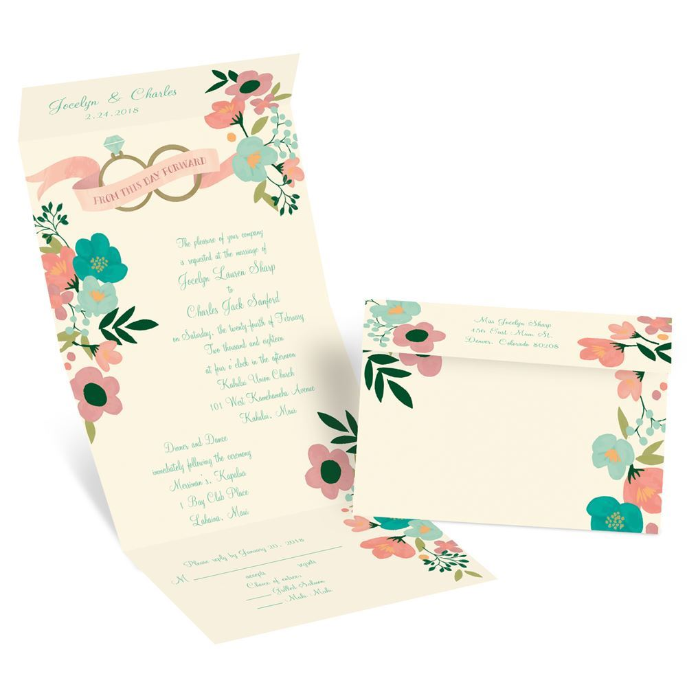 Retro Floral Seal and Send Invitation | Invitations by Dawn
