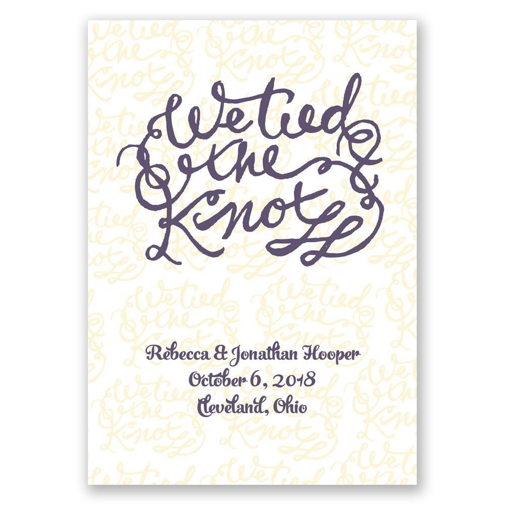 tied the knot wedding announcement invitations by dawn
