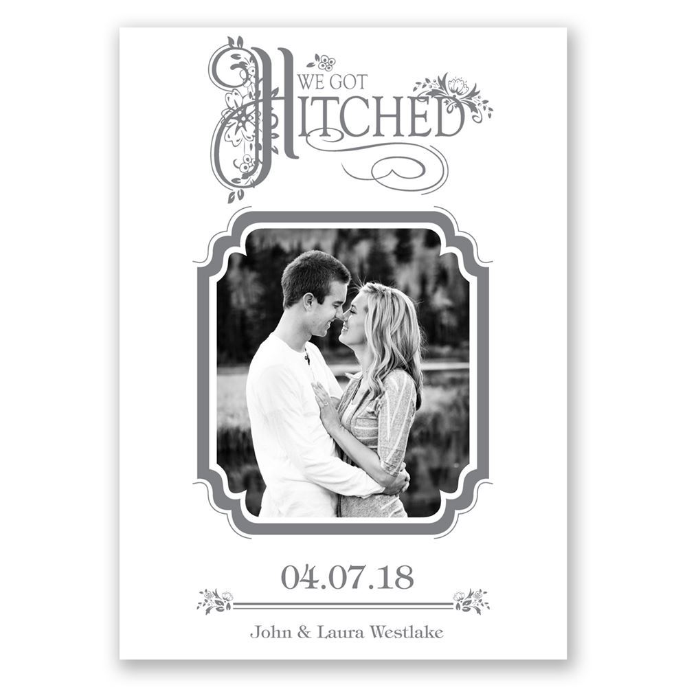 Hitched wedding announcement invitations by dawn hitched wedding announcement monicamarmolfo Image collections