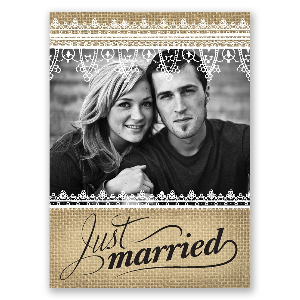 Just married wedding announcement postcard invitations by dawn just married wedding announcement postcard monicamarmolfo Image collections