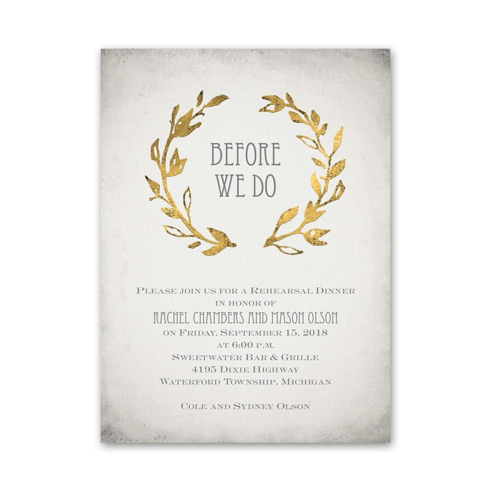 leaves of gold petite rehearsal dinner invitation invitations by dawn