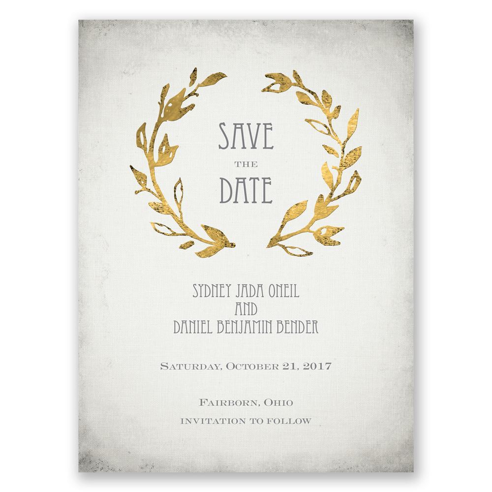 Leaves of Gold Save the Date Card | Invitations By Dawn
