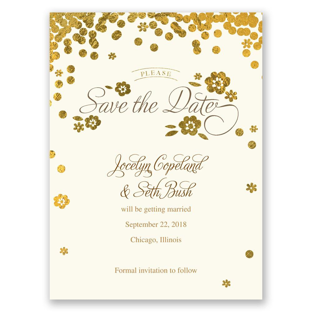 Gold Confetti Save The Date Card Invitations By Dawn