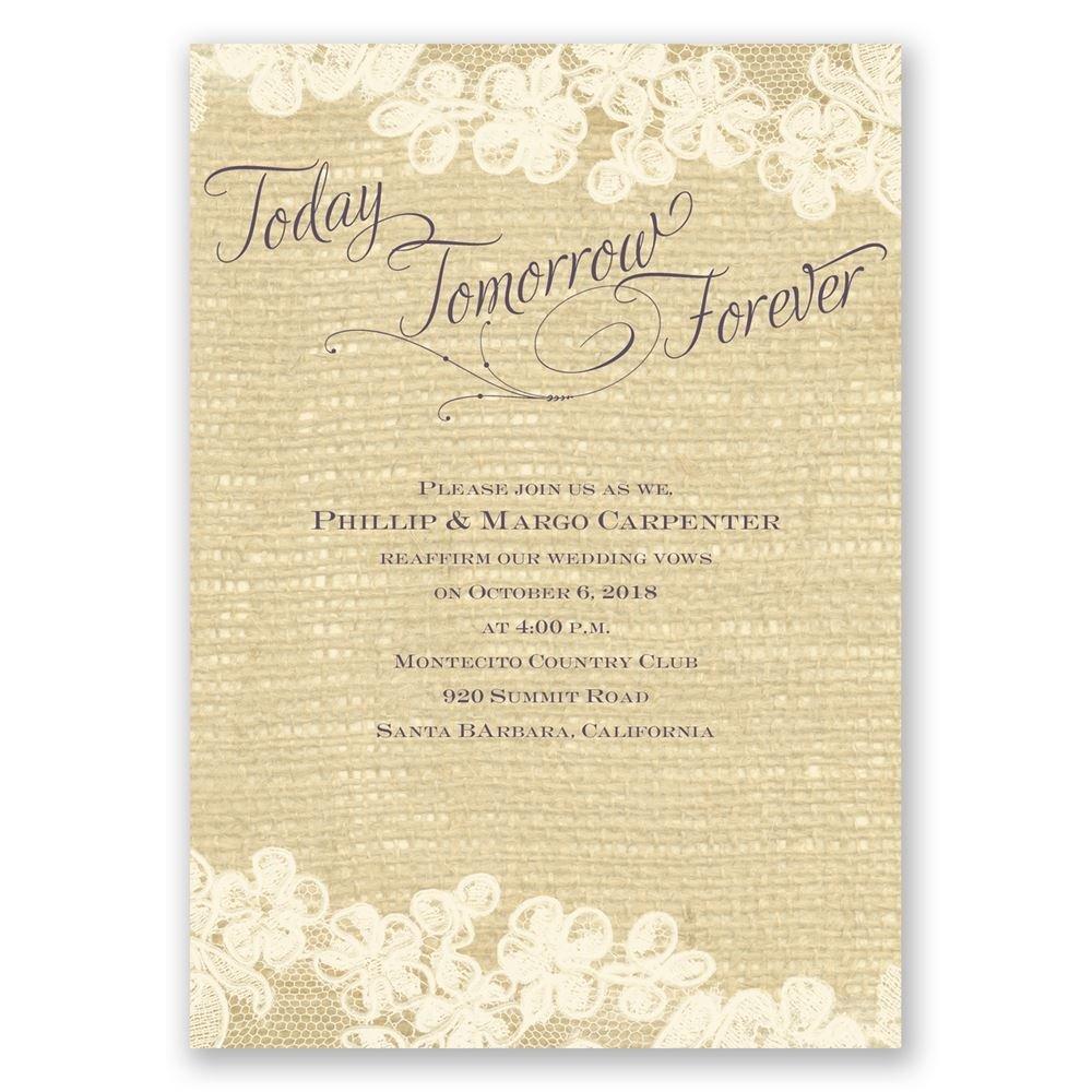 Lace Finish Vow Renewal Invitation