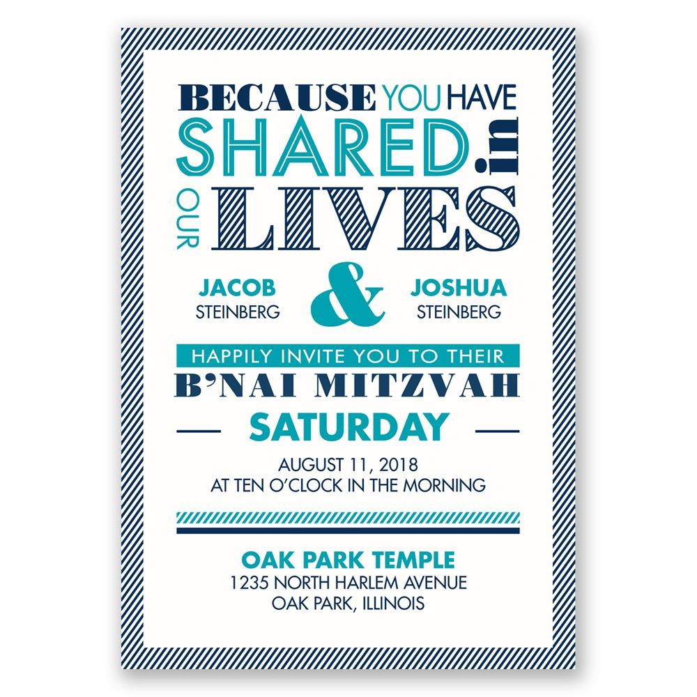 Modern Typography Bnai Mitzvah Invitation Invitations By Dawn