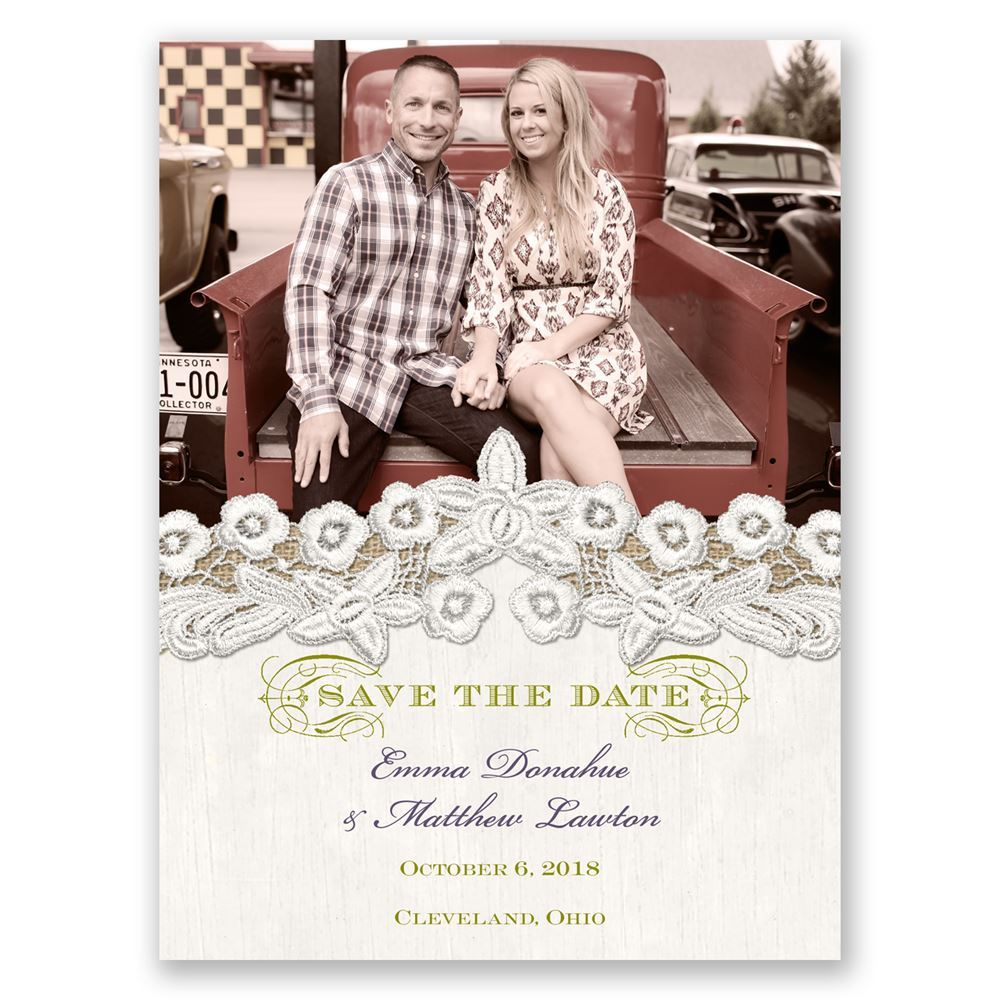 Embroidered Embrace Save The Date Card Invitations By Dawn
