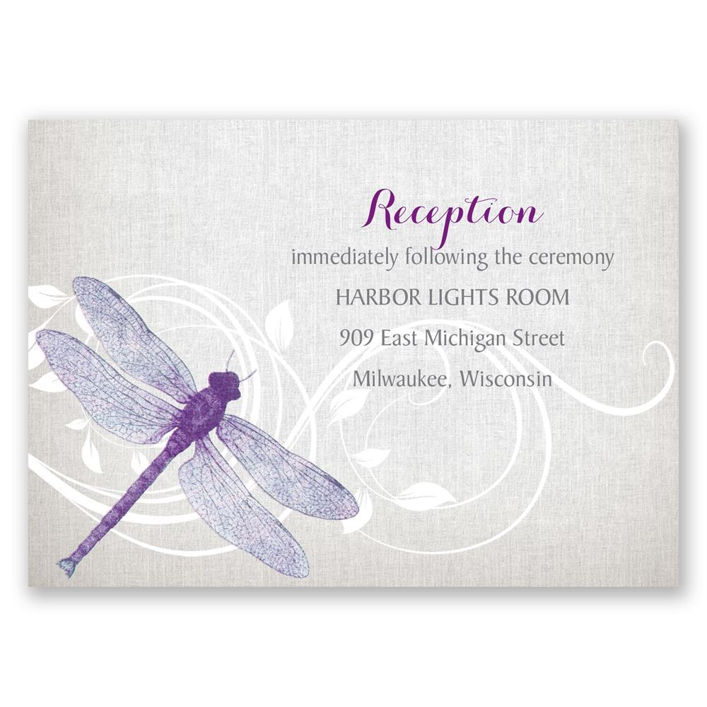 Dragonfly Pair Reception Card | Invitations By Dawn