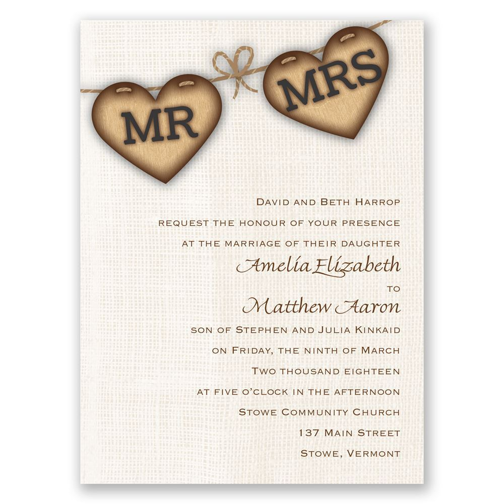 Country Wedding Invitation Wording: Rustic Hearts Petite Invitation