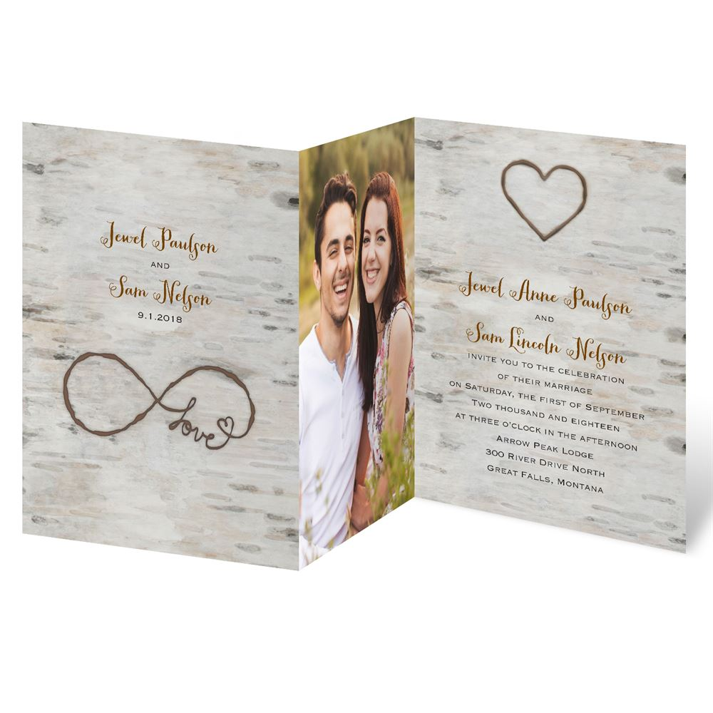 love for infinity z fold invitation - Wood Wedding Invitations