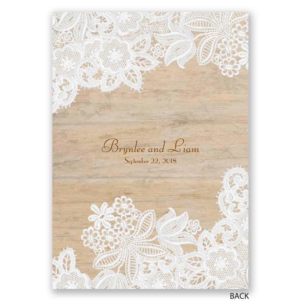 Wood and Lace Invitation | Invitations By Dawn