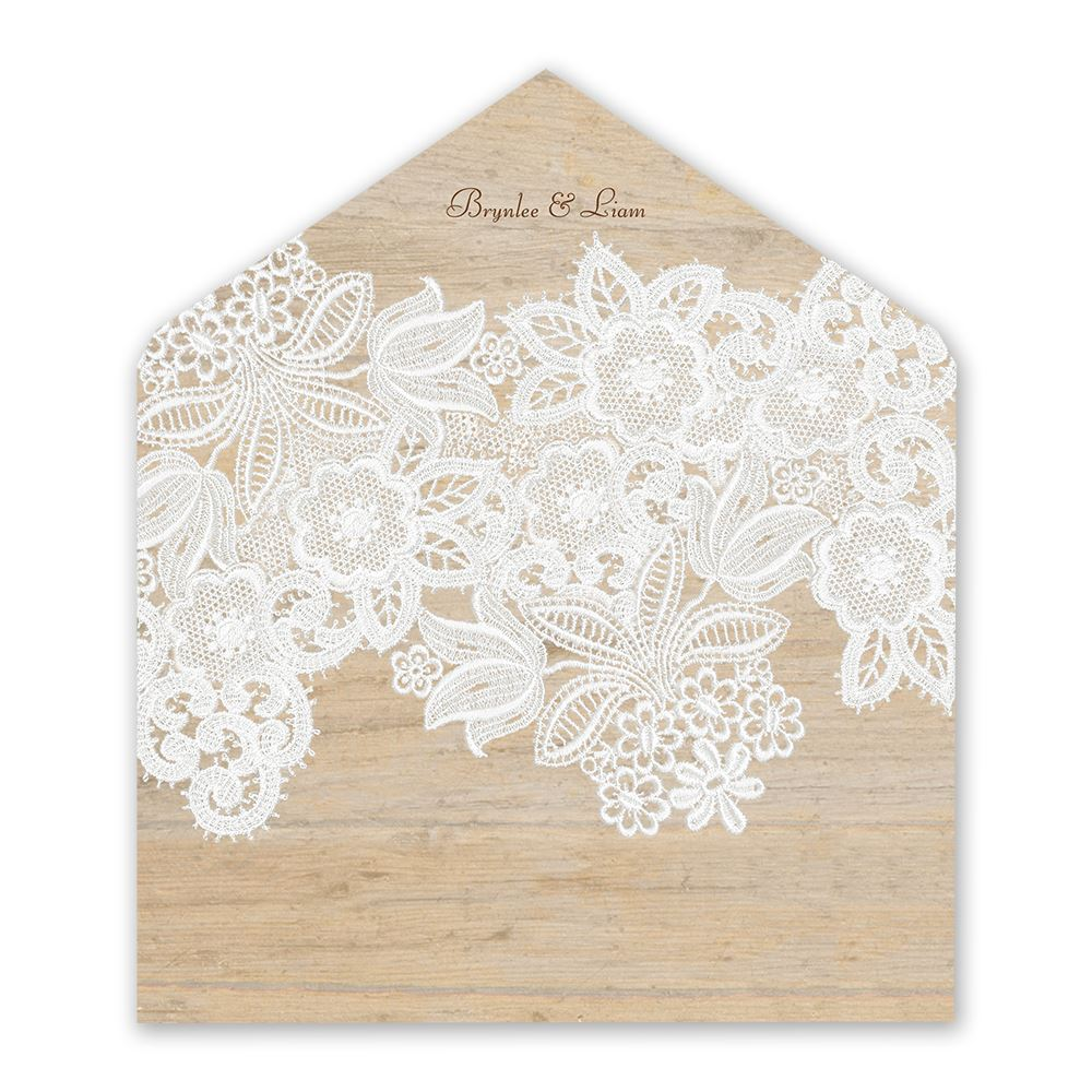 Wood and Lace Envelope Liner | Invitations By Dawn