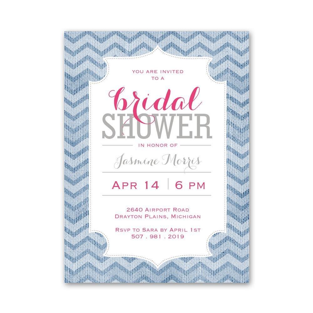 Denim Chevron Petite Bridal Shower Invitation   Invitations By Dawn