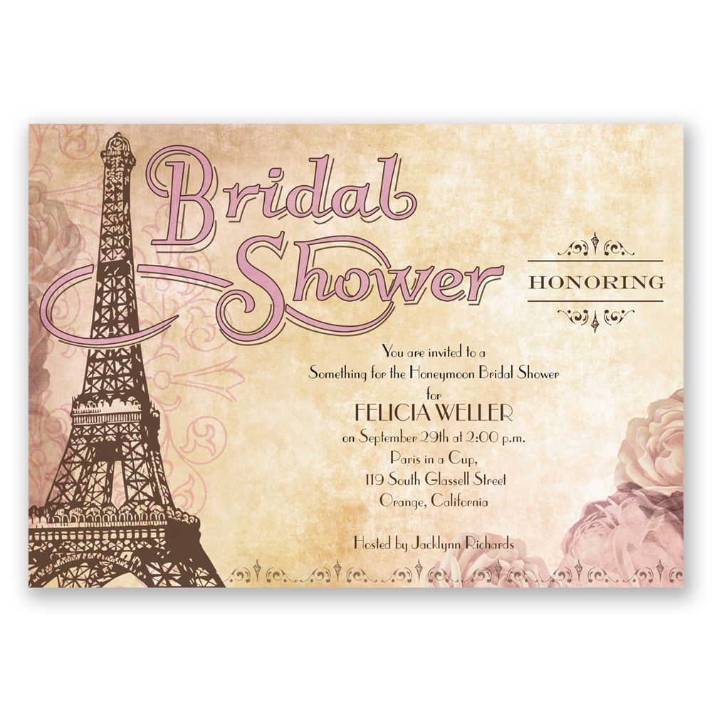 bridal shower invitations eiffel tower bridal shower invitation