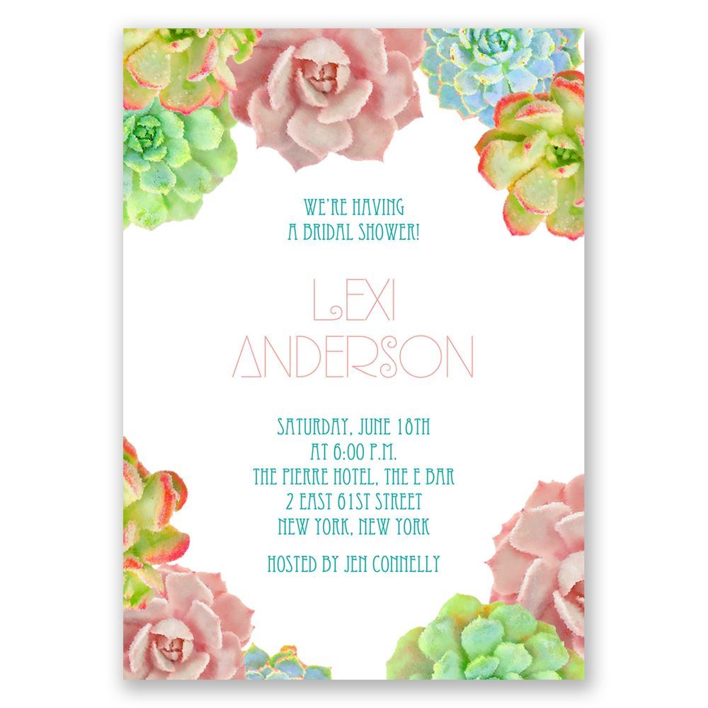 Brilliant Succulents Wedding Shower Invitation | Invitations By Dawn