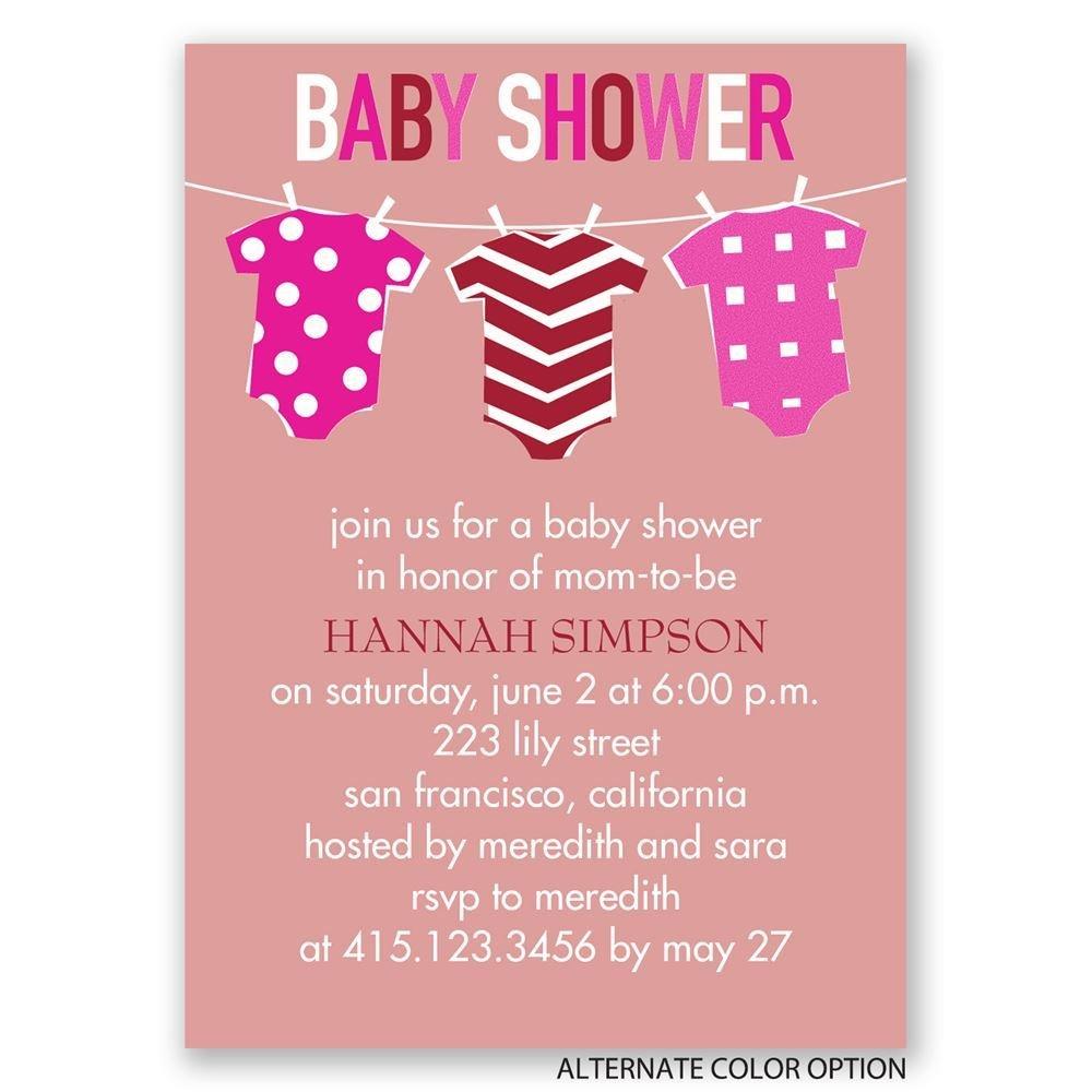 Baby clothes mini baby shower invitation invitations by dawn - Baby shower invitations and decorations ...