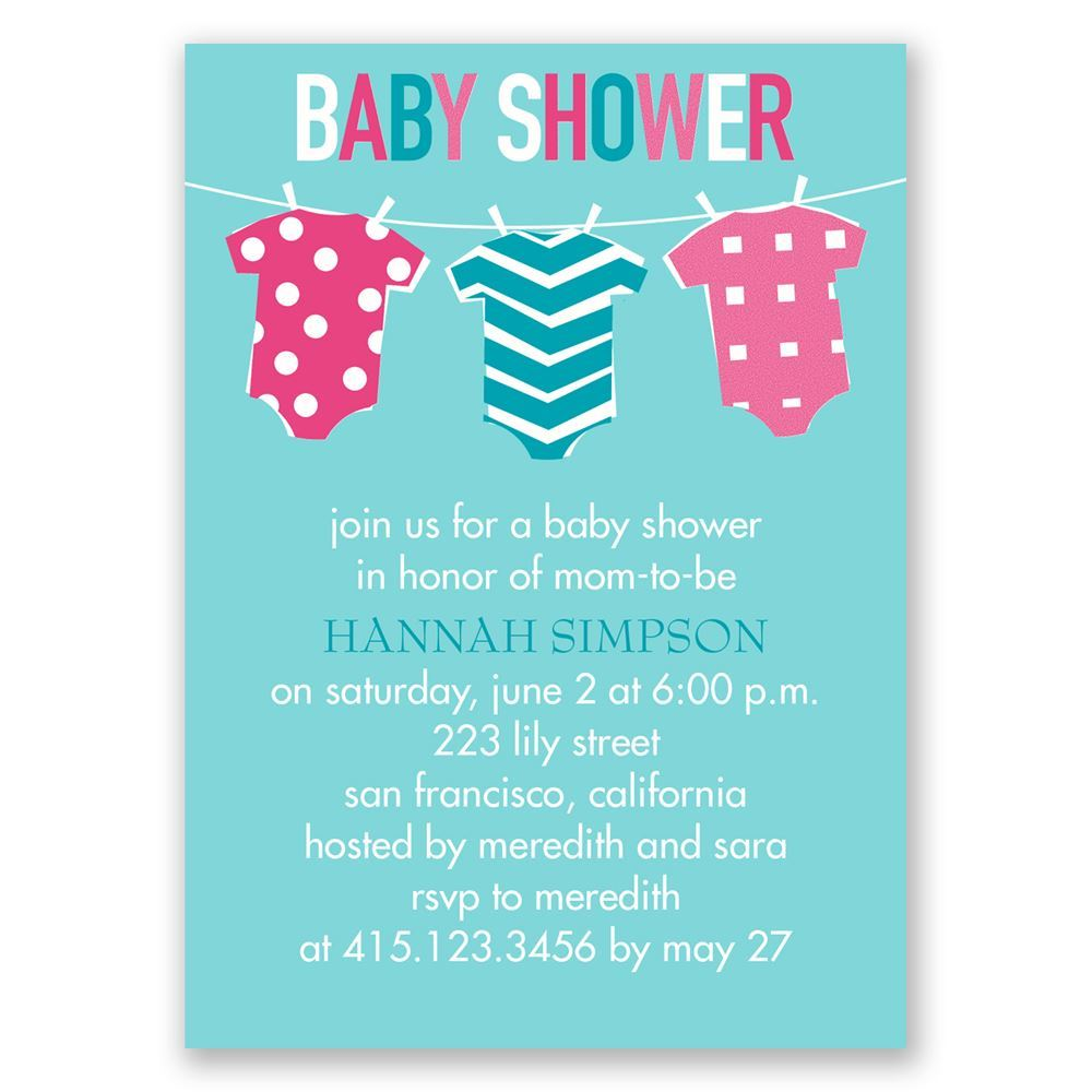 DW36644NFCBBS Baby Clothes Mini Baby Shower Invitation