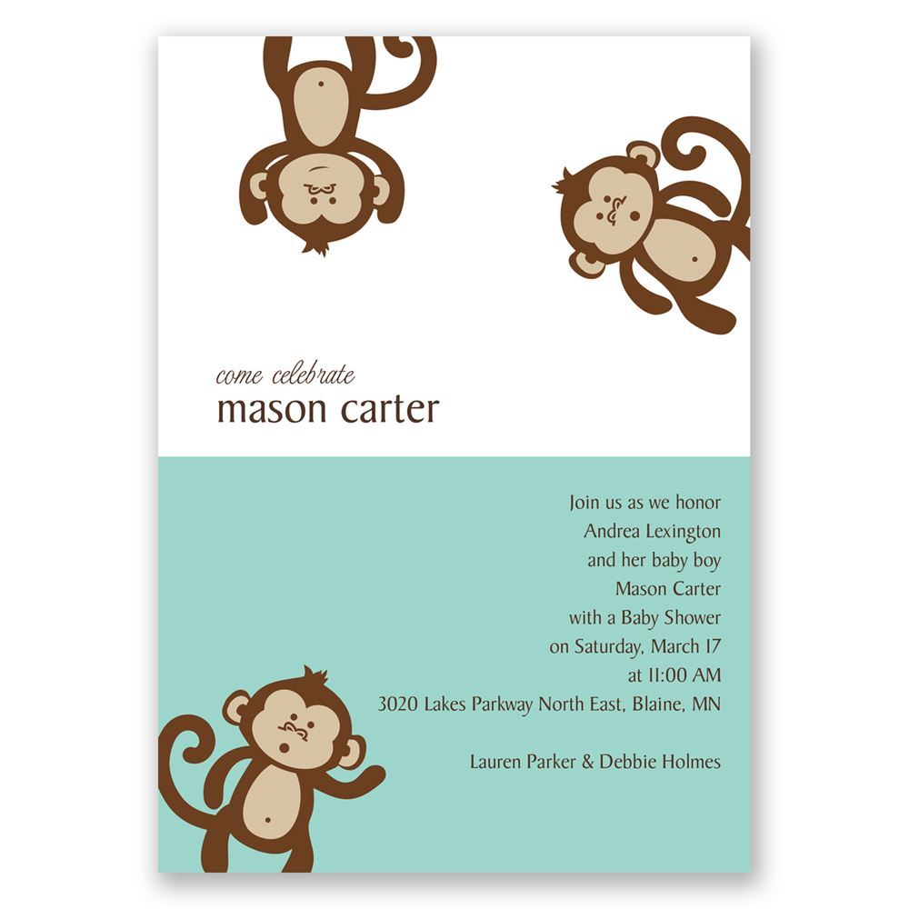 Monkey business baby shower invitation invitations by dawn monkey business baby shower invitation filmwisefo Image collections