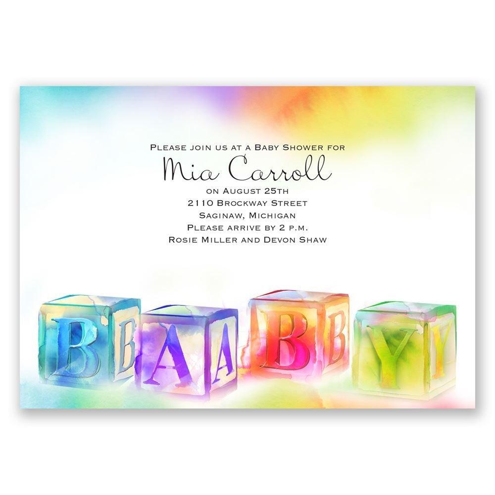 Watercolor blocks baby shower invitation invitations by dawn watercolor blocks baby shower invitation filmwisefo