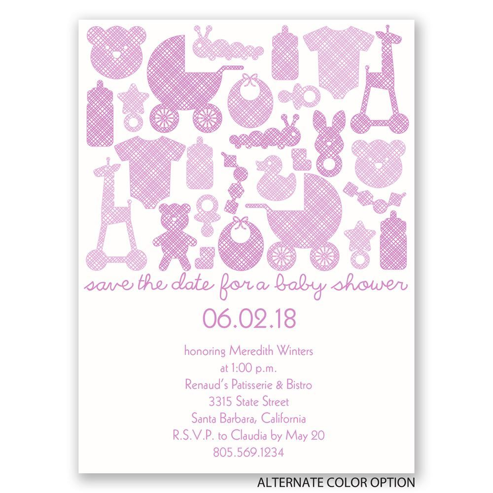 Baby Things Petite Baby Shower Invitation