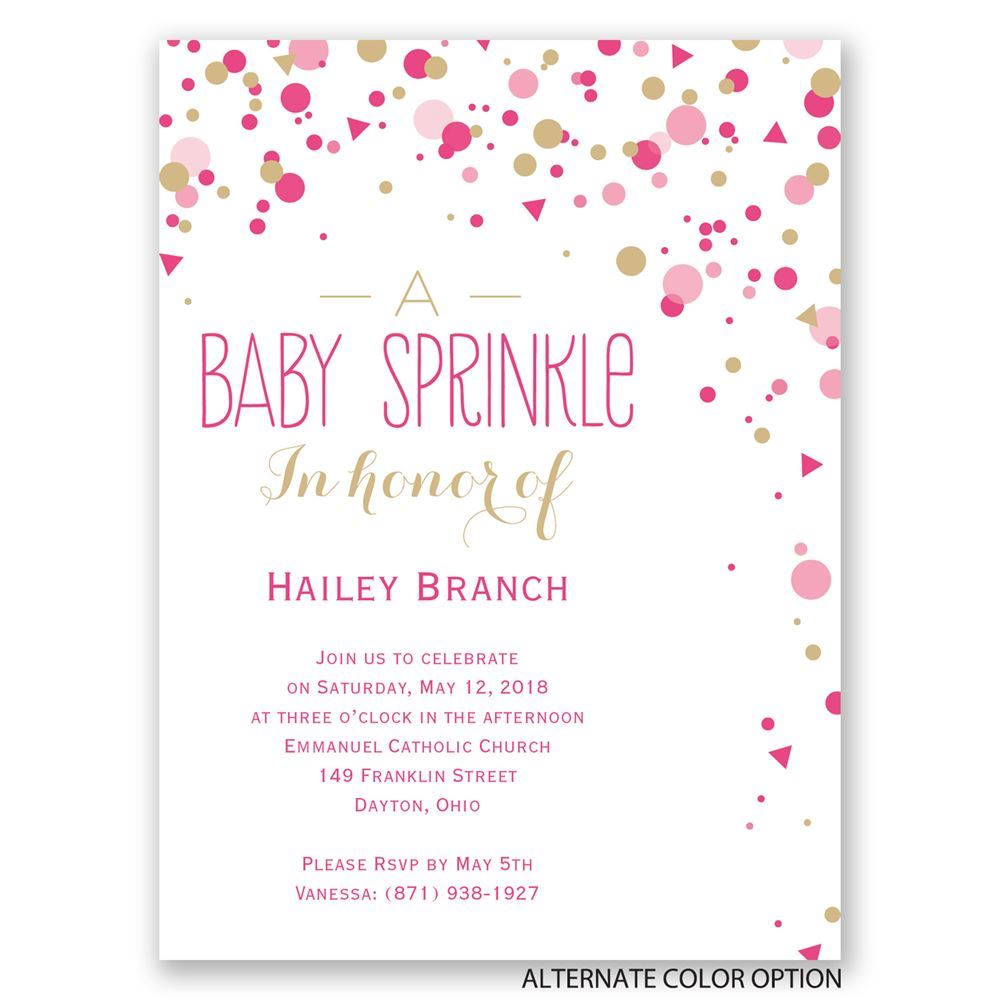 Bright Sprinkles   Petite Baby Shower Invitation