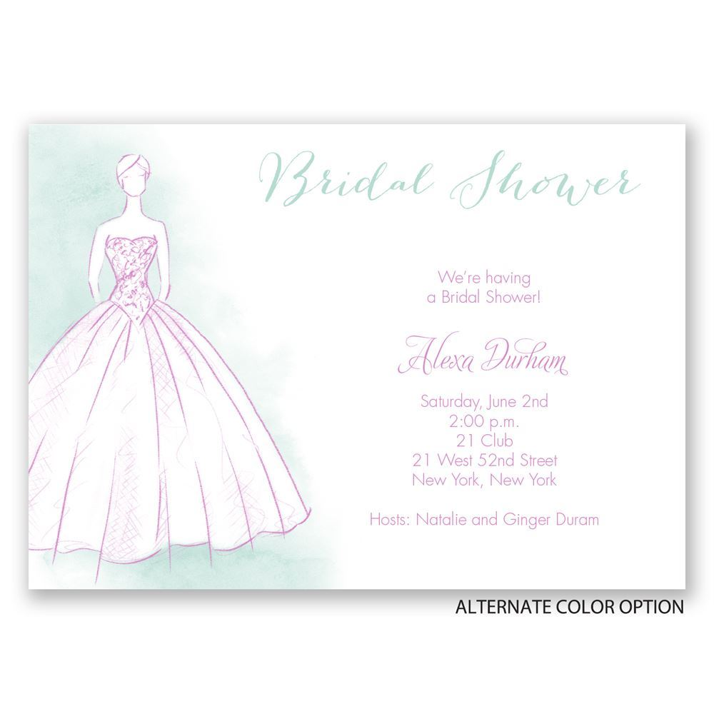 Princess gown bridal shower invitation invitations by dawn for Wedding dress bridal shower invitations