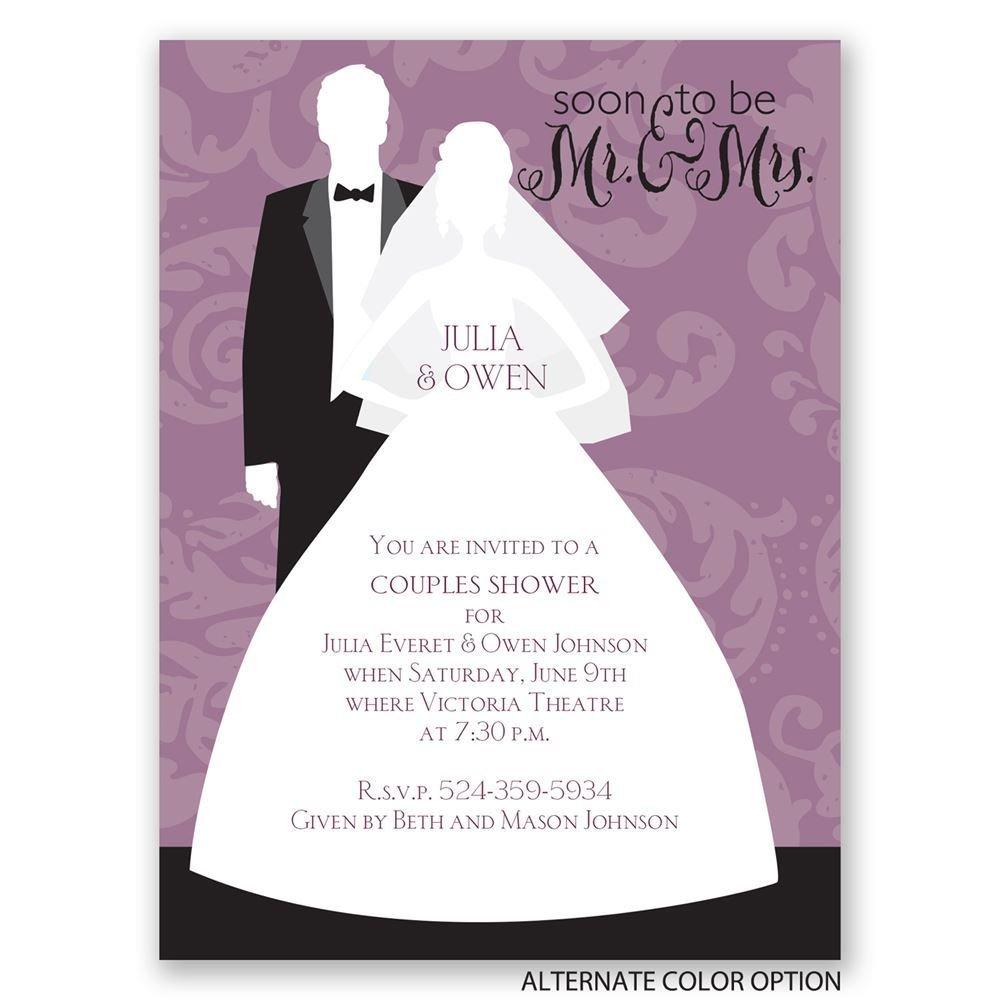 Modern silhouettes petite wedding shower invitation for Modern bridal shower invitations