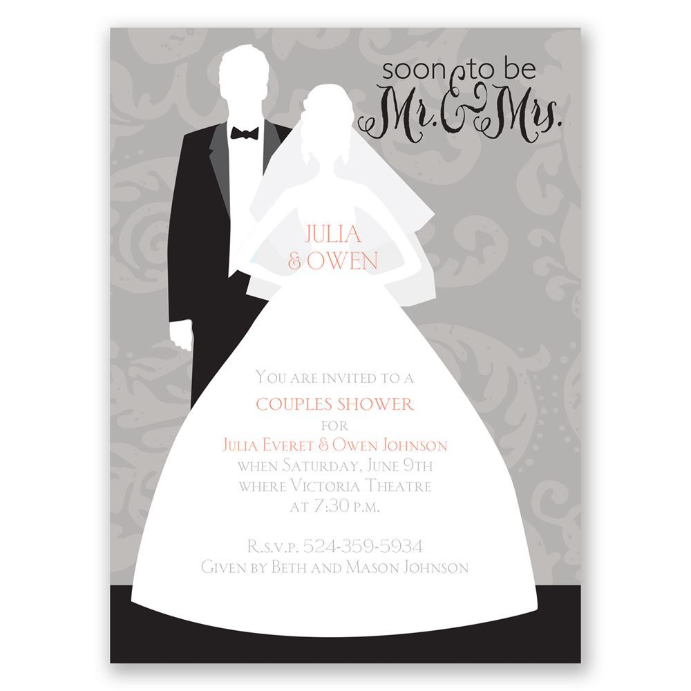 Modern Silhouettes Petite Wedding Shower Invitation | Invitations By ...